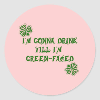 St Patrick s Day Green Faced Products Round Stickers