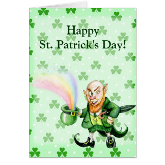 St. Patrick`s Day leprechaun Greeting Card