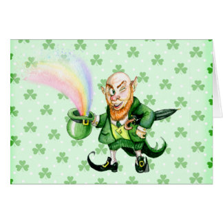 St. Patrick`s Day leprechaun Card