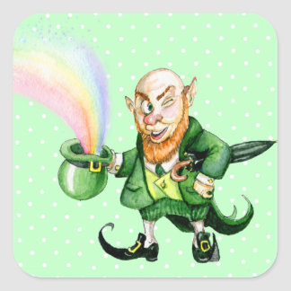 St. Patrick`s Day leprechaun Square Sticker