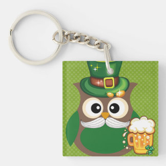 St. Patrick's Day Owl Single-Sided Square Acrylic Key Ring