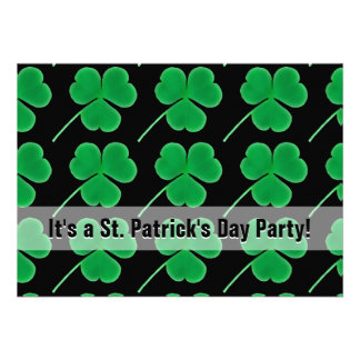 St Patrick s Day Party Shamrocks Green and Black Cards