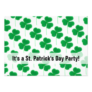 St Patrick s Day Party Shamrocks Green and White Invite