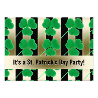 St Patrick s Day Party Shamrocks Green Gold Black Custom Announcement