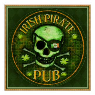 St Patrick s Day Pirate Pub Skull Art Print Poster