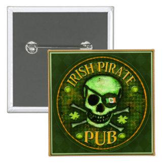 St Patrick s Day Pirate Pub Skull Button