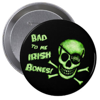 St Patrick s Day Pirate Skull Button