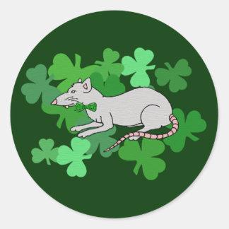 St Patrick s Day Rat Round Stickers