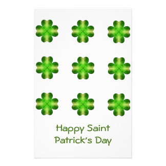 St. Patrick's Day Shamrock Background Personalized Stationery