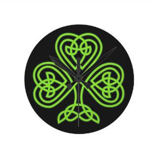 St. Patrick's Day Shamrock Clover Wall Clock
