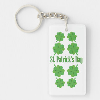 St. Patrick's Day with clover Double-Sided Rectangular Acrylic Key Ring