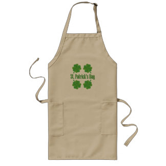 St. Patrick's Day with clover Long Apron