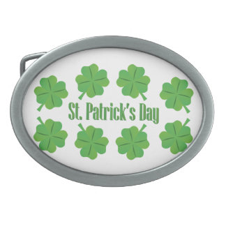 St. Patrick's Day with clover Oval Belt Buckle
