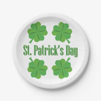 St. Patrick's Day with clover Paper Plate