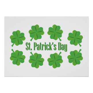 St. Patrick's Day with clover Poster
