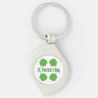 St. Patrick's Day with clover Silver-Colored Swirl Key Ring