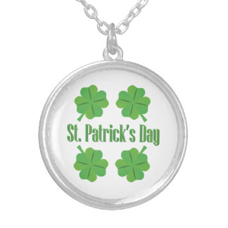 St. Patrick's Day with clover Silver Plated Necklace