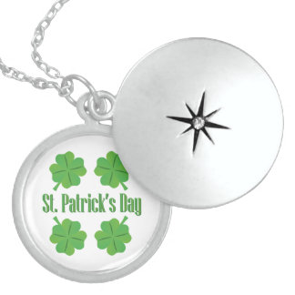 St. Patrick's Day with clover Sterling Silver Necklace