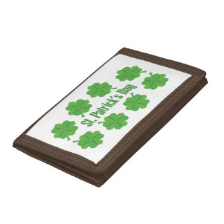 St. Patrick's Day with clover Tri-fold Wallet
