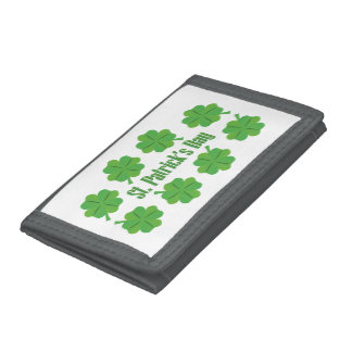 St. Patrick's Day with clover Trifold Wallets