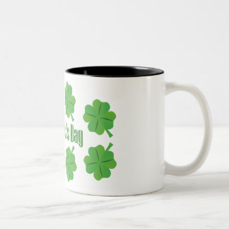 St. Patrick's Day with clover Two-Tone Coffee Mug