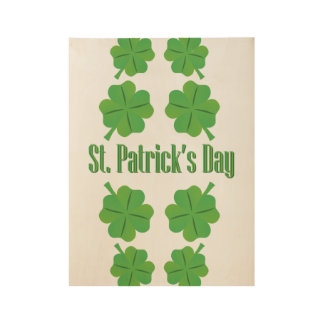 St. Patrick's Day with clover Wood Poster
