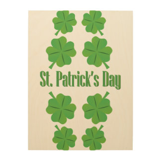 St. Patrick's Day with clover Wood Print