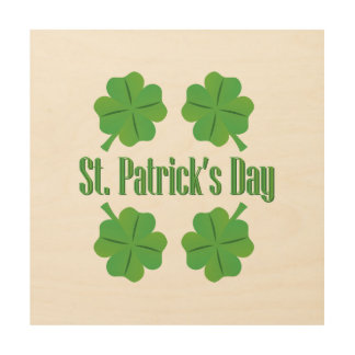 St. Patrick's Day with clover Wood Wall Art