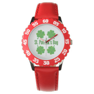 St. Patrick's Day with clover Wristwatch