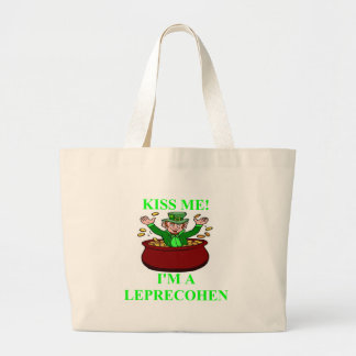 st patrick;'sday irish jewish design large tote bag