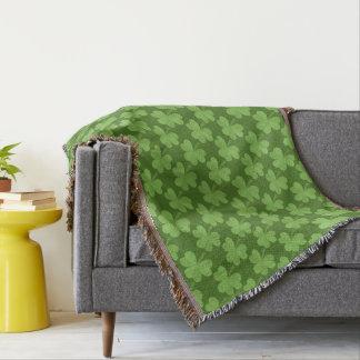 St. Patrick Shamrock Clovers Green Pattern Ireland Throw Blanket