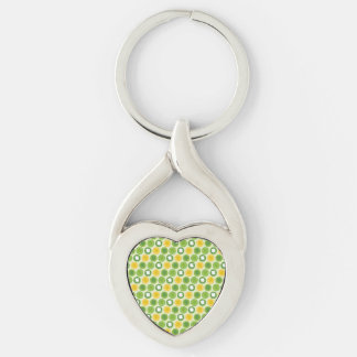 St. Patrick Shamrocks Silver-Colored Twisted Heart Key Ring