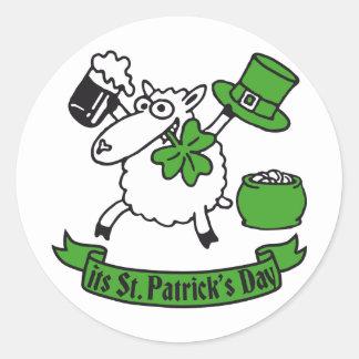 St Patrick sheep Round Sticker