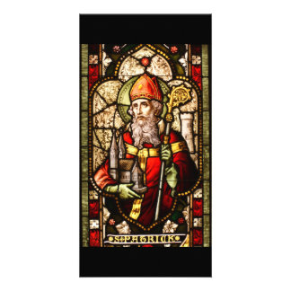 St. Patrick Stained Glass Art Deco Personalised Photo Card