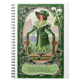 St Patrick Stylish Vintage maid in dress and hat Notebooks