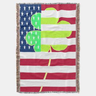 St. Patrick USA Ireland Shamrock American Flag Throw Blanket