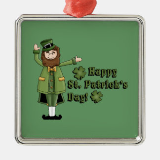 St Patrick Wishes You A Happy St Pats Day Silver-Colored Square Decoration