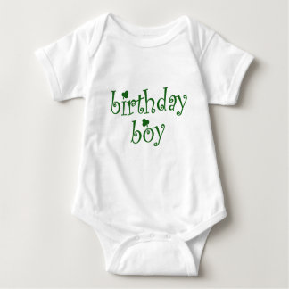 St Patrick's Birthday Boy with Shamrocks Baby Bodysuit