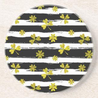 st patricks black white clover coaster