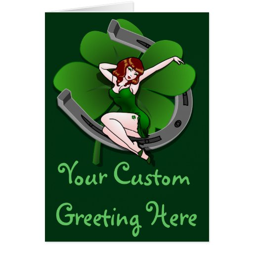 St Patrick's Card Personalized Lucky Pinup Cards