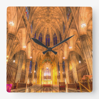St Patrick's Cathedral Manhattan New York Square Wall Clock