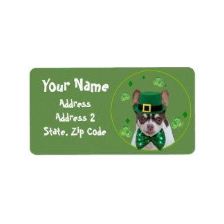 St. Patrick's Chihuahua dog shipping Labels