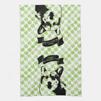 St Patricks Corgi Dog Silhouette Tea Towel
