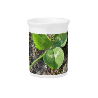 St. Patrick's Day background . Clover on the rock Pitcher