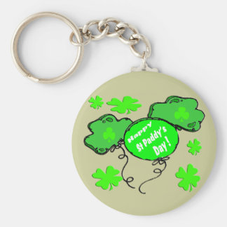 St Patrick's Day Balloons Basic Round Button Key Ring