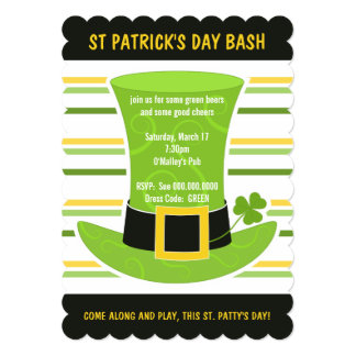St Patrick's Day Bash Cool Green Top Hat Stripes 13 Cm X 18 Cm Invitation Card