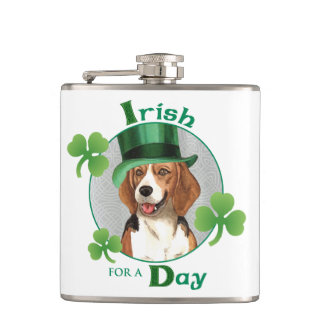 St. Patrick's Day Beagle Hip Flask