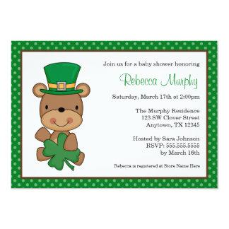 St. Patrick's Day Bear Clover Baby Shower 13 Cm X 18 Cm Invitation Card