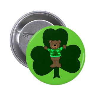 St. Patrick's day bear in green button