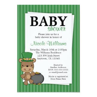 St. Patrick's Day Bear Pot Of Gold Baby Shower 13 Cm X 18 Cm Invitation Card